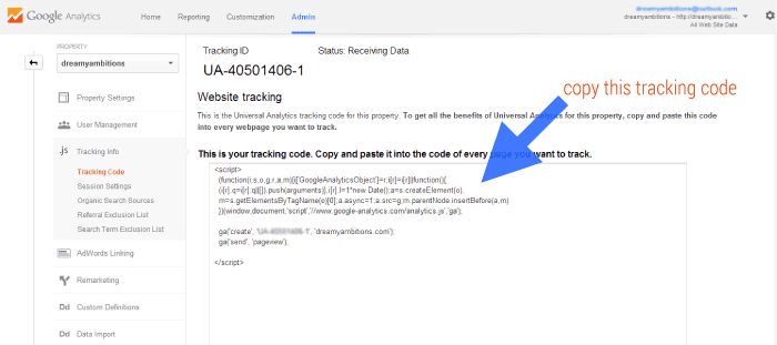 Where to find google anaytics tracking code