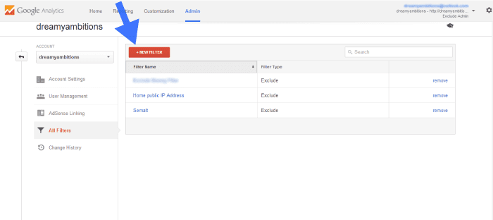 add new filter in google analytics