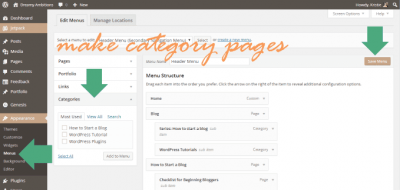 make categories pages