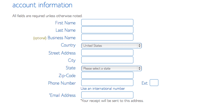 Fill in your account information for your new blog.