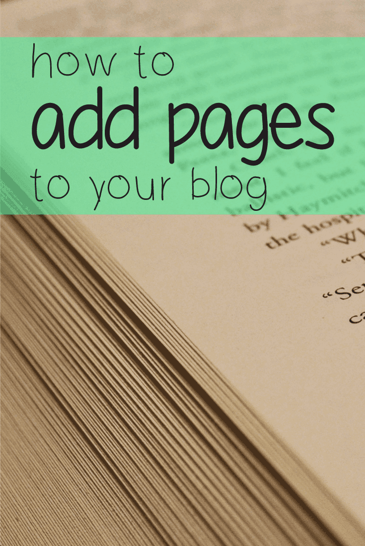 How to add pages to your blog