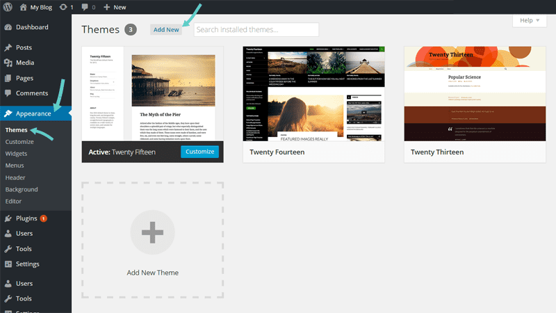 Add a theme to your new blog