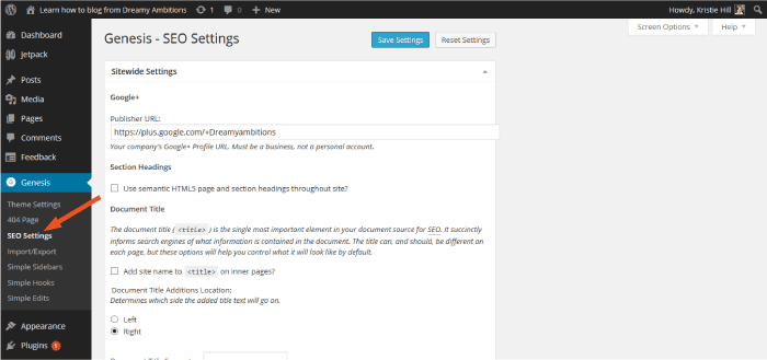 Genesis SEO settings built into wordpress