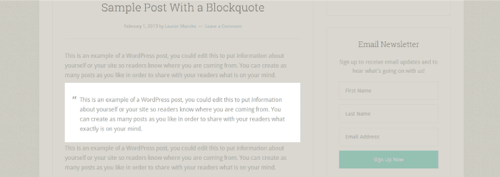 look at the block quotes when choosing a theme
