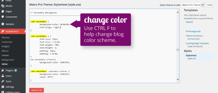 change color blog design