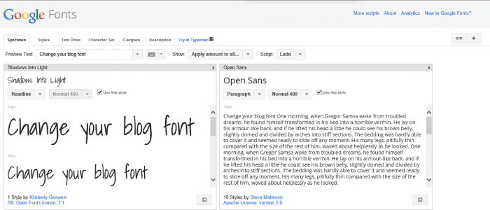 how to change your blog font google fonts