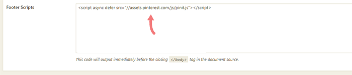 adding pins-js to footer box.