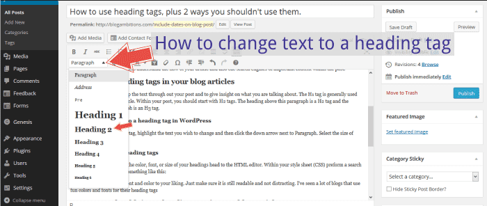 How to change text to heading tag in WordPress