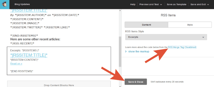 How to add RSS items to mailchimp newsletter