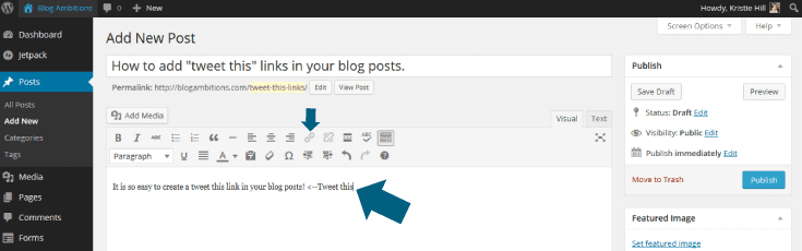 Add click to tweet quote in your blog posts
