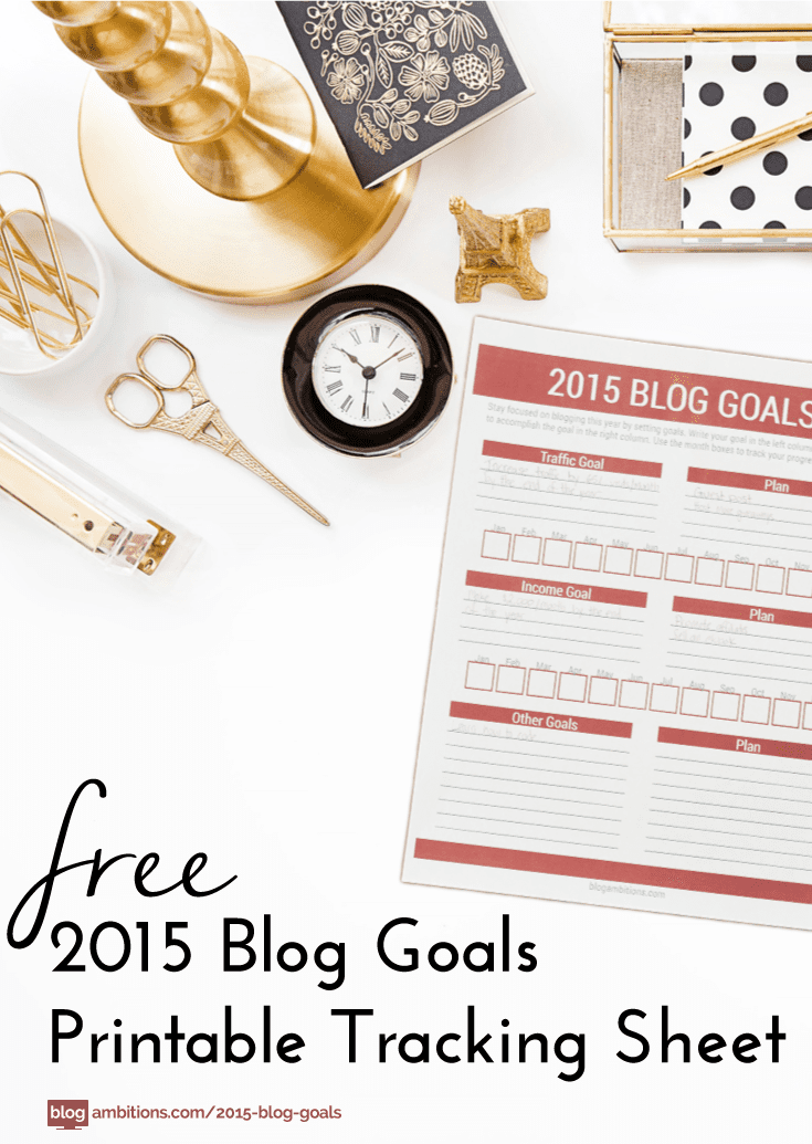 Free Printable: 2015 Blog Goals tracking sheet