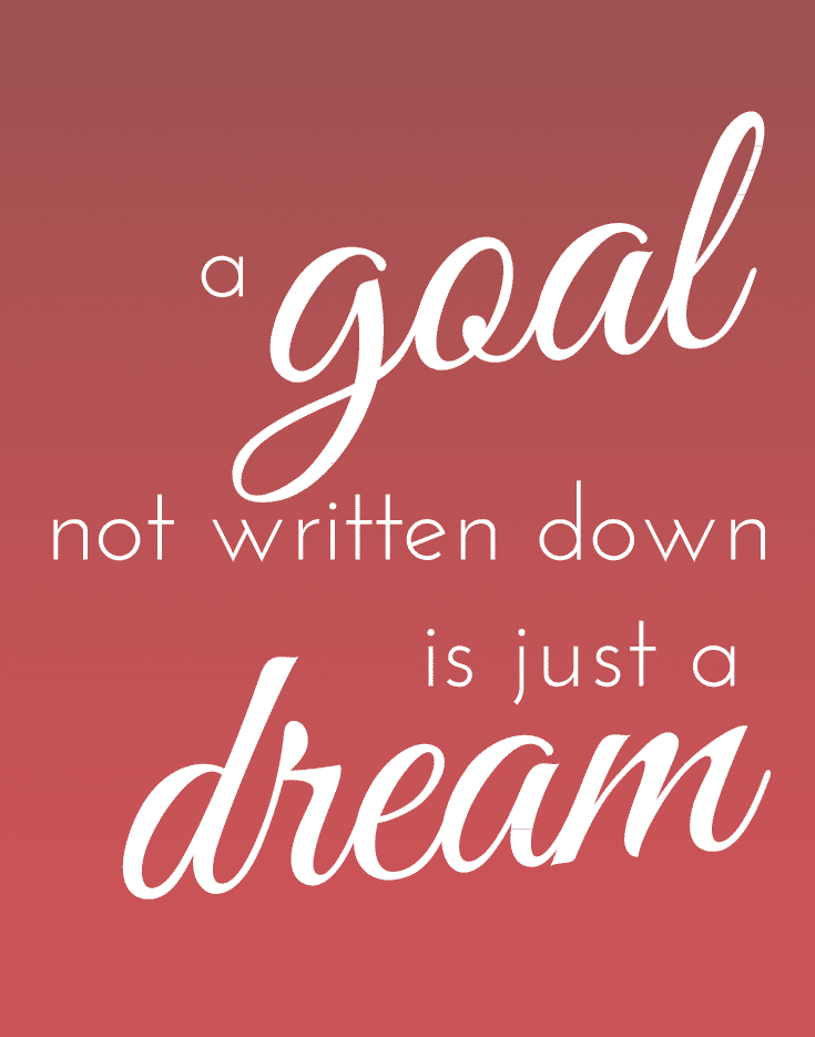 A goal not written down is just a dream