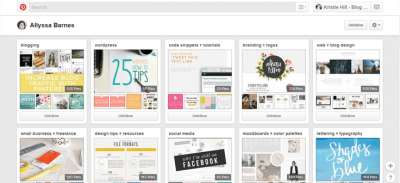 Pinterest boards dispay your blog's style.
