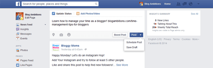 Schedule facebook posts from facebook