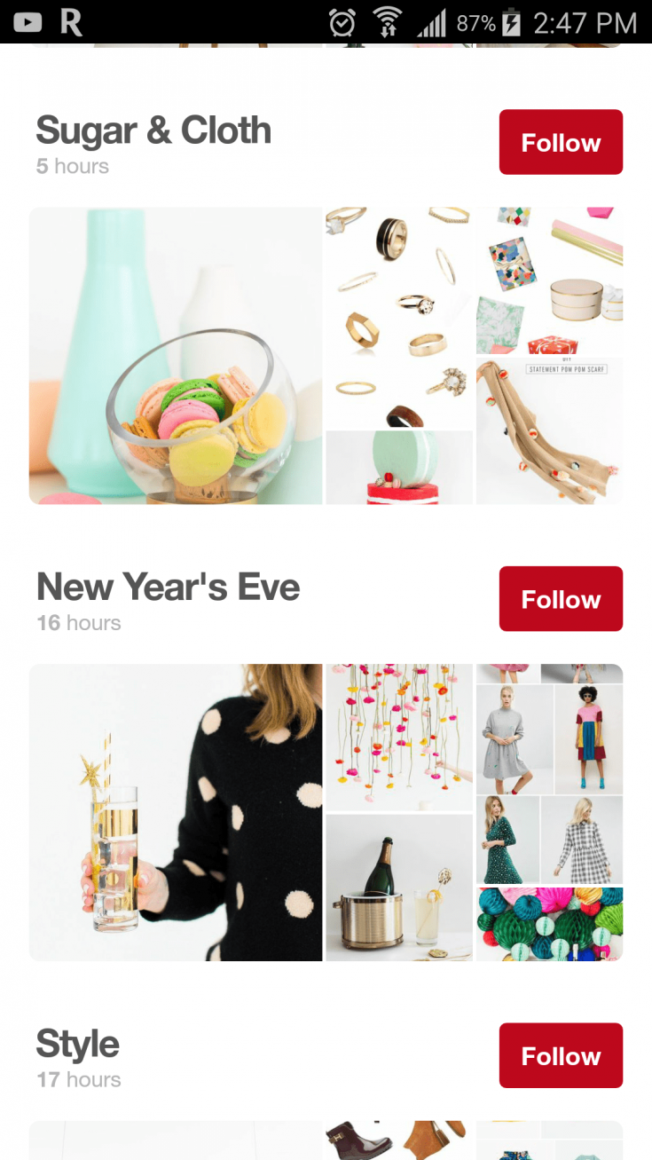 Pinterest board covers on mobile devices.