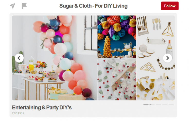 Pinterest board covers on your showcase images.