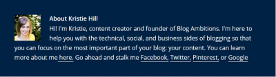 Author box example for blog