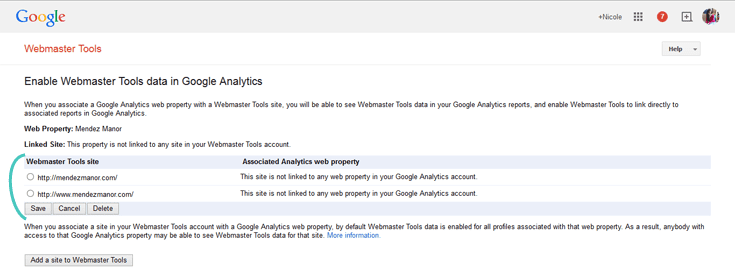 Add you Webmaster sites to Google Analytics