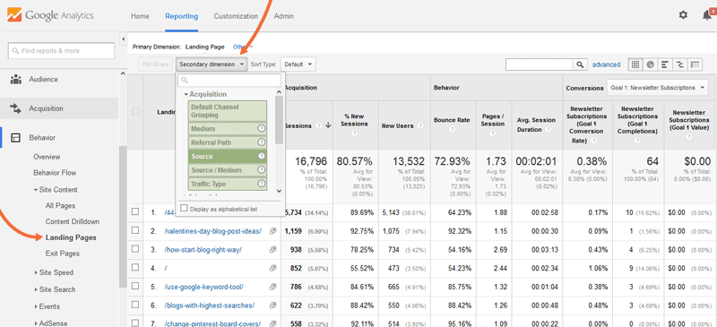 Add a secondary dimension in Google Analytics