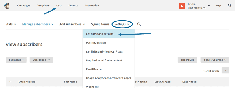 How to adjust MailChimp form settings