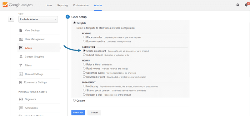 Create a new goal in Google Analytics