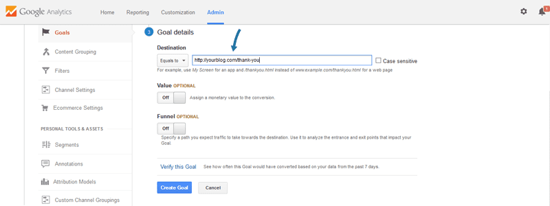 Add your newsletter thank you page to a Google Analytics goal.
