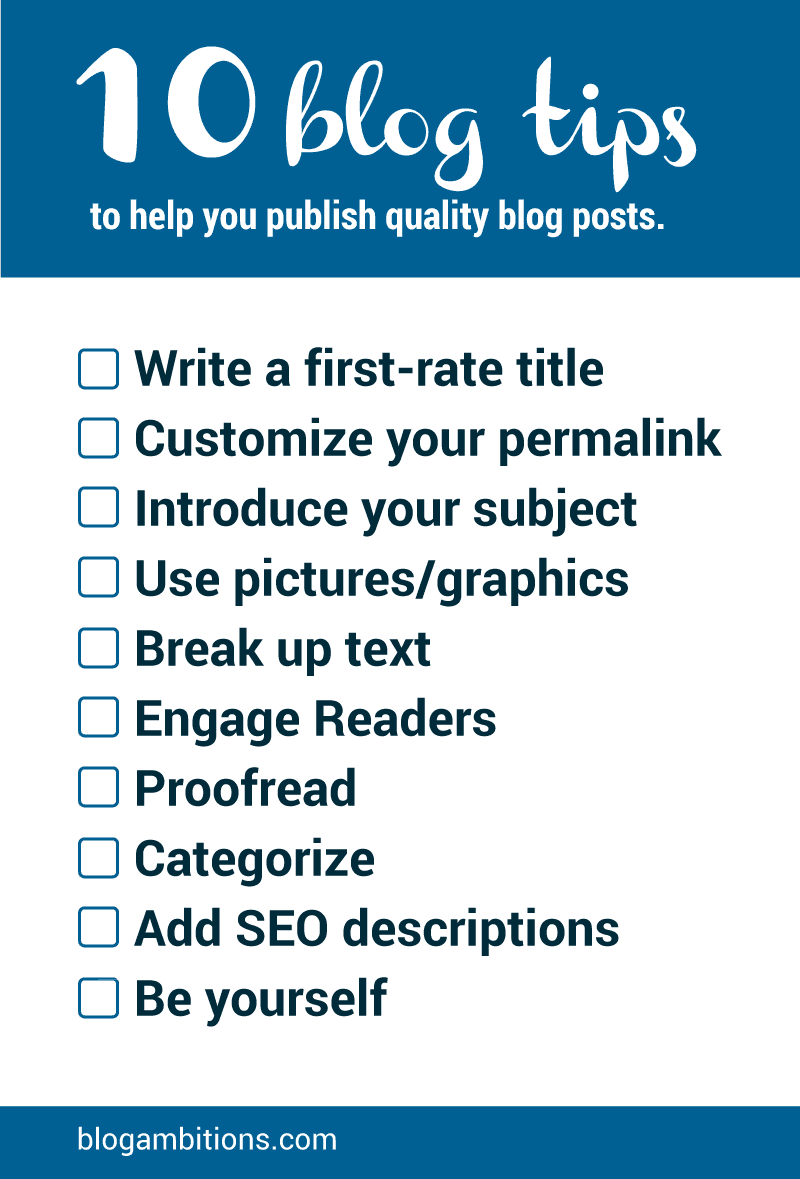 Free checklist for publishing quality blog posts.