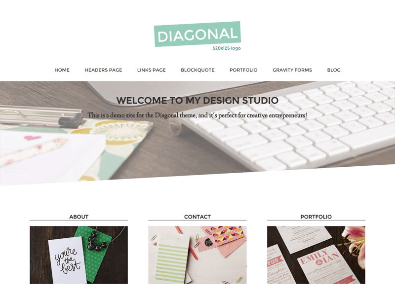 Diaganol theme - best Genesis Child theme for bloggers