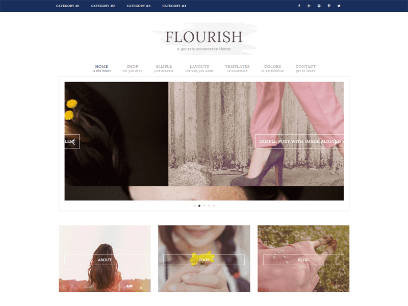 Flourish theme - best Genesis child theme for bloggers