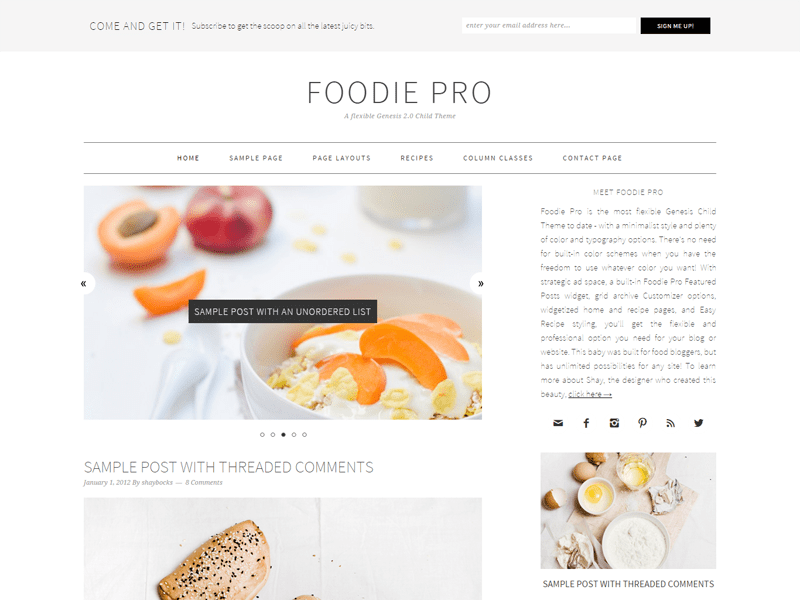 Foodie Pro theme - best Genesis child theme for bloggers