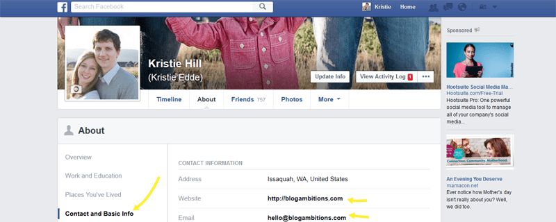 Make it easy for people to find your website from you personal Facebook profile.
