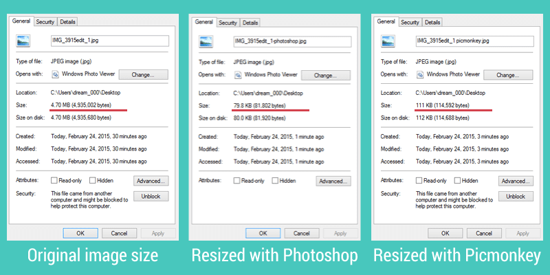Sizing your blog pictures before uploading them can significantly change the file size - helping your blog load faster.