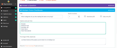 Ask readers questions directly in your giveaway