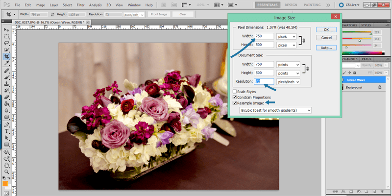 Use Photoshop to resize your images before uploading them to your blog.