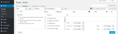 How to add categories to bulk blog posts
