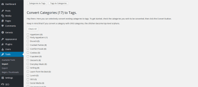 Conver categories to tags in WordPress