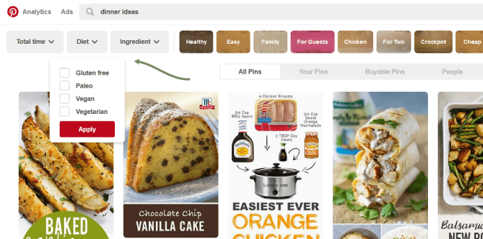 Recipe rich pins should you use them or not tastemaker conference example of filtered recipe tool on pinterest forumfinder Image collections