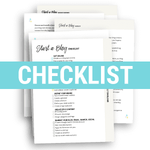 Start a blog checklist - Free PDF download