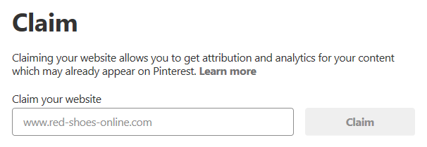 Screenshot: how to claim Pinterest settings