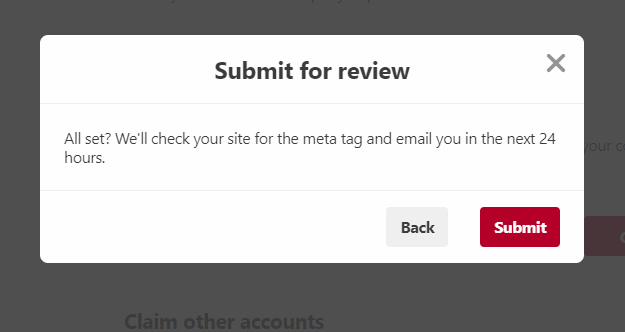Screenshot: submit your blog for review Pinterest account