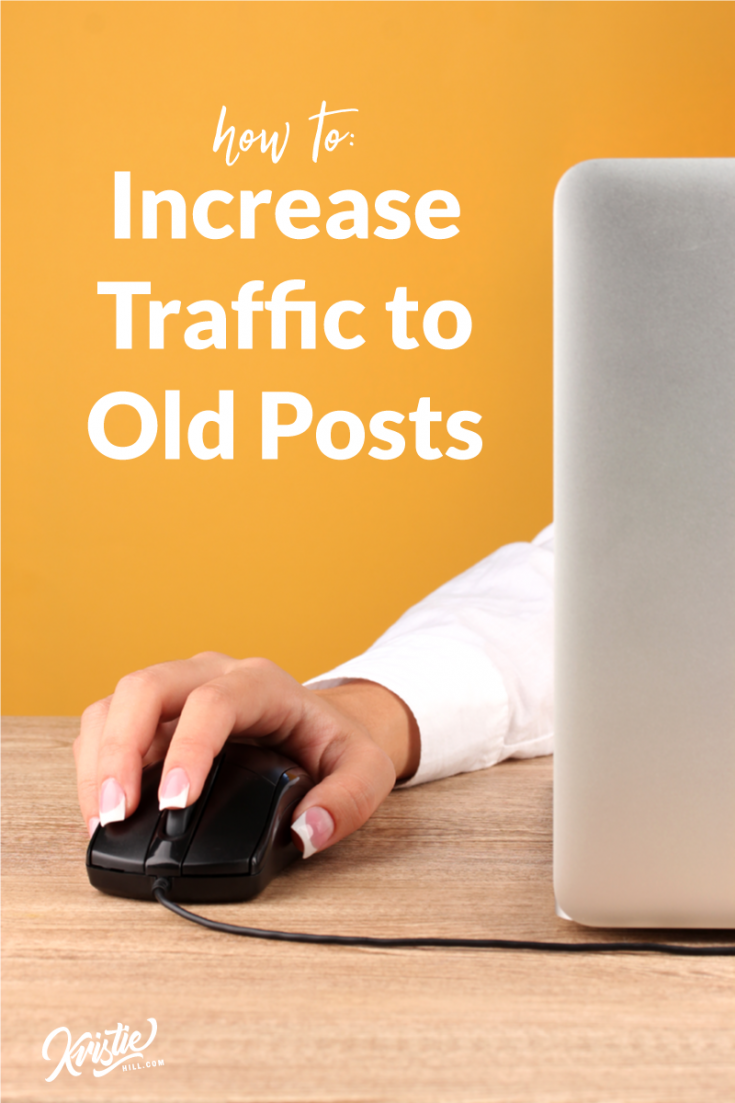 Cover image: Increase Traffic to Old Posts. Women holding computer mosue.