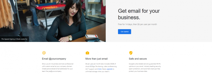 Screenshot Gsuite Sign up Page