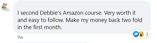 Screenshot of FB post about Debbie's Amazon Course