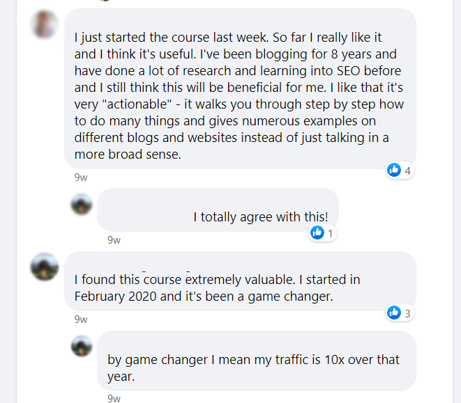 Screenshot of Facebook discussion about Stupid Simple SEO course.