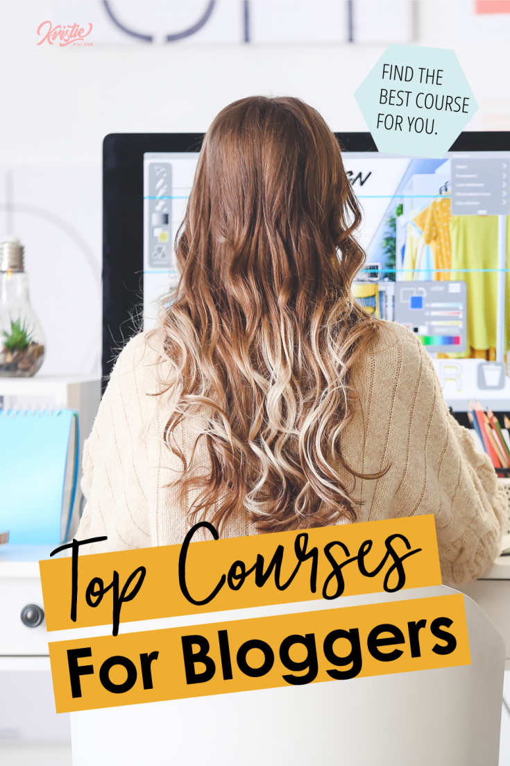"""GIrls sitting at a computer desk going through a blogg course. Text overlay says """"top courses for bloggers: Find the best course for you."""""""